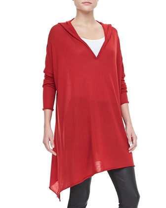 Hooded Cashmere Drape Tunic