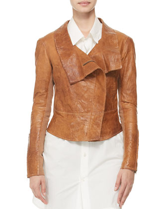 Topstitched Leather Jacket, Oversized Buttoned Shirt, Seamed Pull-On Pants & Hip-Slung Belt