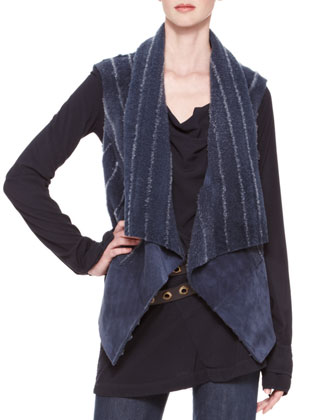 Ribbed-Shearling Vest, Drape-Front Blouse, Flared Trouser Jeans & Double-Wrap Belt