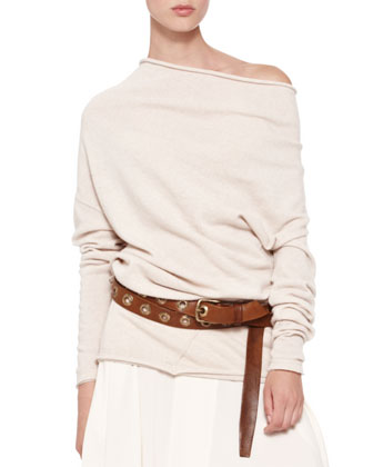 Asymmetric-Neck Tunic, Jersey Handkerchief Skirt & Double-Wrap Hip Belt