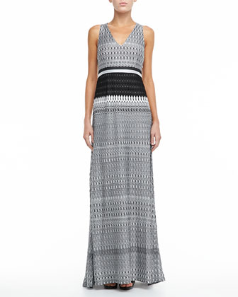 Racerback Knit Maxi Dress, Black/White