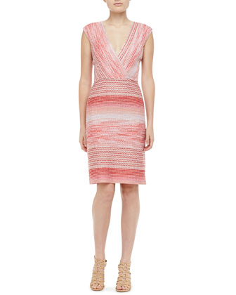 Knit Surplice Dress, Coral
