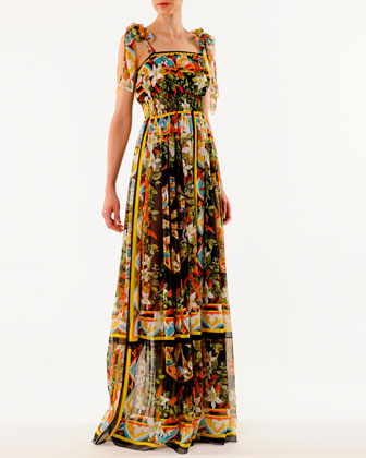 Printed Tie-Shoulder Chiffon Gown