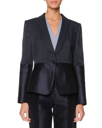 Single-Button Combo Blazer