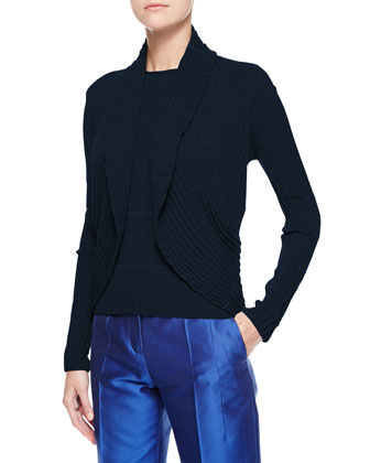 Striped Ripple-Knit Cardigan, Navy