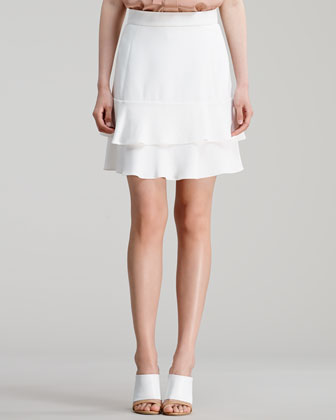 Sleeveless Silk Crepe de Chine Blouse & Ruffle-Hem Cady Skirt