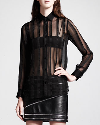 Sheer Paneled Button-Up and Leather Zip-Trim Miniskirt