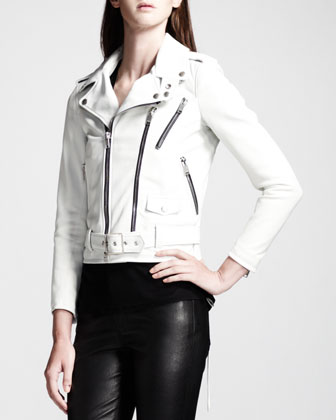 Buckled Leather Moto Jacket