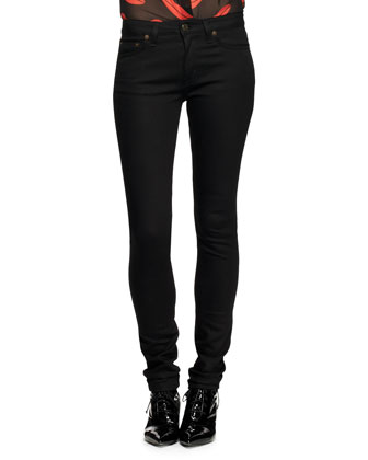 Five-Pocket Raw Denim Skinny Jeans
