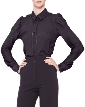 Long-Sleeve Collared Button-Up Blouse & High-Waist Wide-Leg Trousers