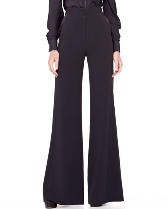 High-Waist Wide-Leg Trousers, Midnight
