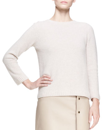 Crewneck Cashmere Pullover Sweater, Clay