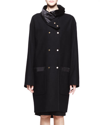 Oversized Double-Snap Melton Coat
