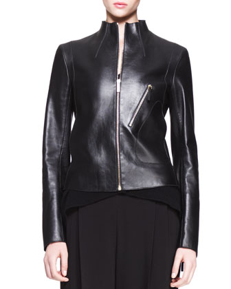 High-Neck Leather Jacket, Cap-Sleeve Trapeze Top & Wide-Leg Pleat Pants