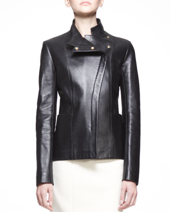 Golden-Trim Leather Jacket