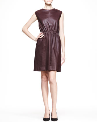 Cap-Sleeve Leather Dress