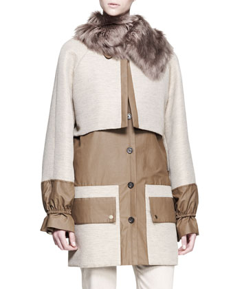 Two-Tone Alpaca Fur-Collar Coat