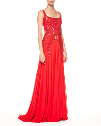 Beaded-Top Belted Bias-Cut Gown