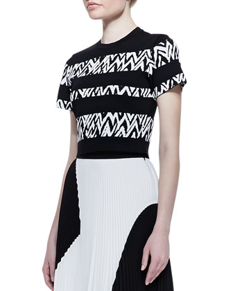 Short-Sleeve Abstract-Stripe Top