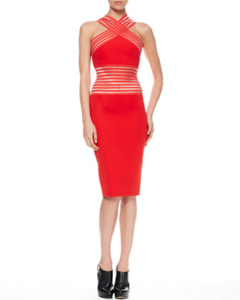 Elastic Peekaboo Halter Dress, Red