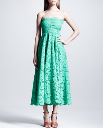 Strapless Heavy-Lace Maxi Dress, Mint