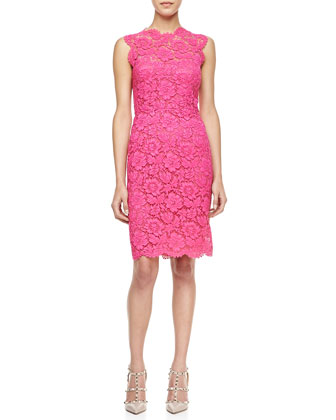 Sleeveless Lace Sheath Dress, Pink
