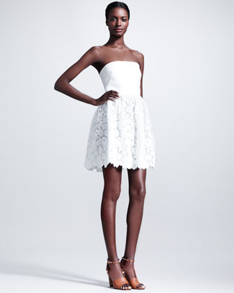 Leather-Top Lace-Skirt Dress, Ivory