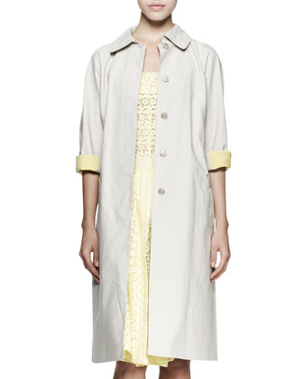 Contrast-Cuff Trenchcoat and Eyelet Tie-Back Halter Dress