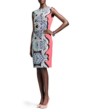 Cap-Sleeve Paisley Sheath Dress
