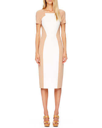 Two-Tone Fitted Crepe Dress