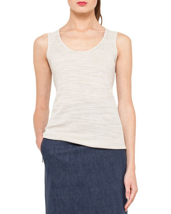 Structured Linen-Blend Jacket, Scoop-Neck Top & Long Denim Pencil Skirt