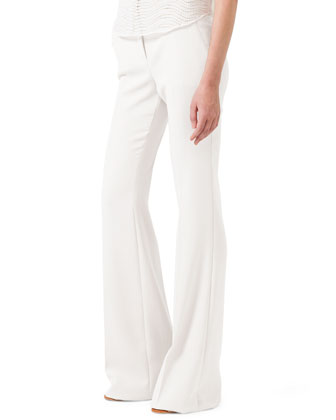 Boot-Cut Cotton-Silk Pants
