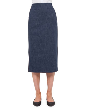 Long Denim Pencil Skirt