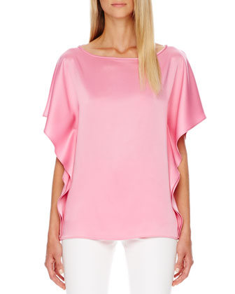 Satin Flutter-Sleeve Tunic