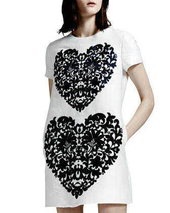 Lace-Heart Shift Dress, White/Black