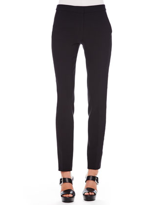 Two-Tone Hi-Lo Blouse & Slim Tuxedo Pants