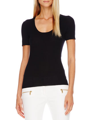 Scoop-Neck Cashmere Top
