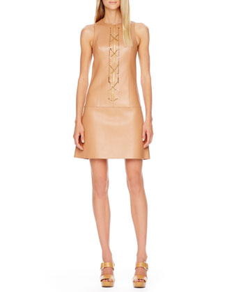 Chain-Front Leather Dress