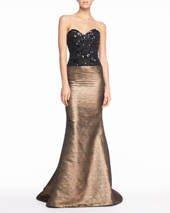 Beaded Sweetheart Tweed Gown, Black/Gold