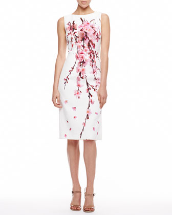 Cherry Blossom Jacquard Dress, White/Pink