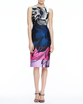 Floral-Print Scuba Dress, Black/Multicolor