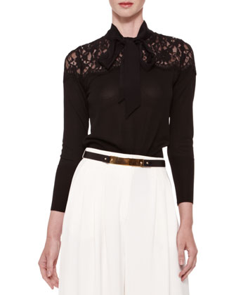 Lace-Yoke Tie-Neck Blouse, Black