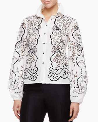 Floral Full-Sleeve Blouse, Ivory/Black