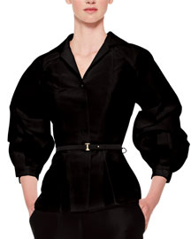 Silk Faille Balloon-Sleeve Blouse, Black