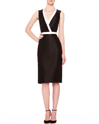 Two-Tone V-Neck Dress, Black/Ivory