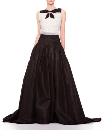 Long A-Line Silk Skirt, Black