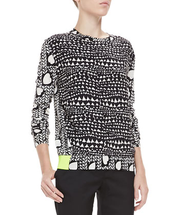 Heart-Print Knit Neon-Band Pullover