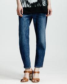 Zip-Ankle Boyfriend Jeans, Dark Blue
