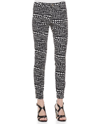 Heart-Print Jeans, Black/White