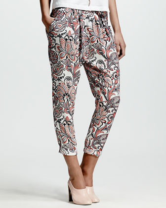 Skinny-Lapel One-Button Blazer, Applique-Embellished Tee & Paisley-Print Harem Pants
